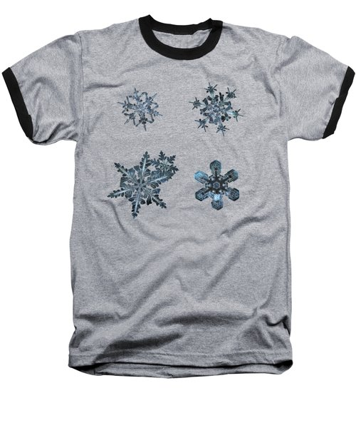 Five Snowflakes On Black 3 Baseball T-Shirt by Alexey Kljatov