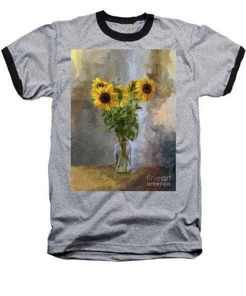 Five Sunflowers Centered Baseball T-Shirt