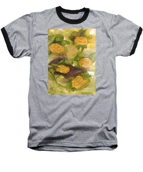 Baseball T-Shirt featuring the painting Five Yellow Roses by Lucia Grilletto