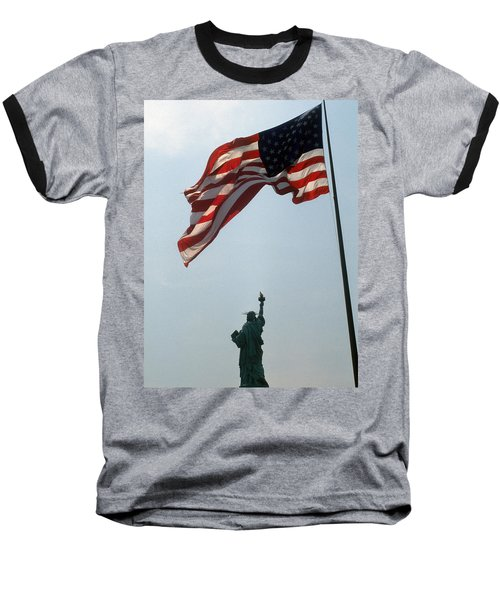 Baseball T-Shirt featuring the photograph Flag And Statue Of Liberty by Carl Purcell