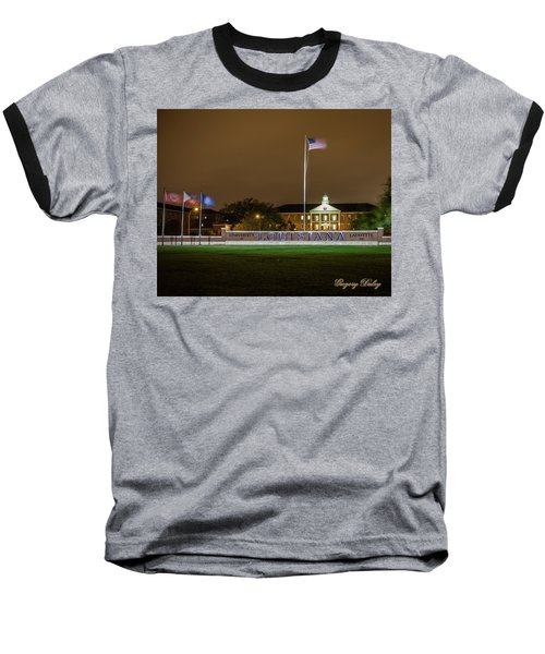 Baseball T-Shirt featuring the photograph Flag At Night In Wind by Gregory Daley  PPSA