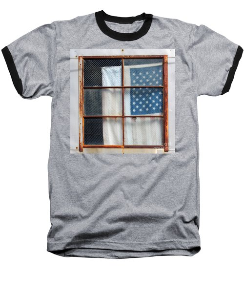 Flag In Old Window Baseball T-Shirt