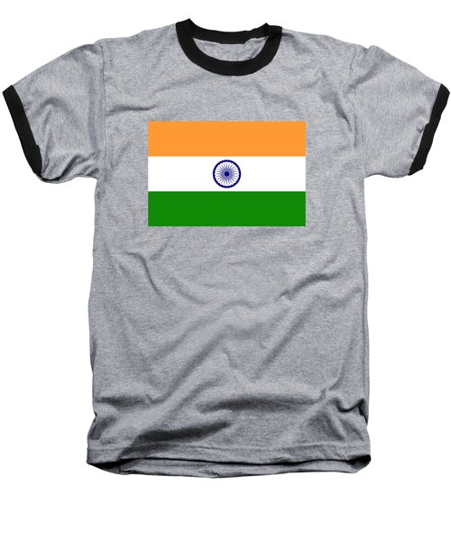 Flag Of India Authentic Version Baseball T-Shirt by Bruce Stanfield