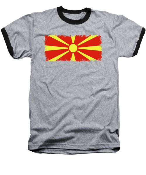Baseball T-Shirt featuring the digital art Flag Of Macedonia by Bruce Stanfield