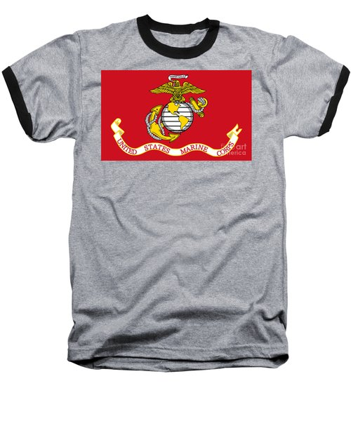 Flag Of The United States Marine Corps Baseball T-Shirt by Pg Reproductions
