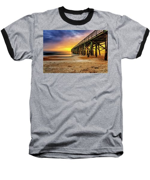 Flagler Beach Pier At Sunrise In Hdr Baseball T-Shirt