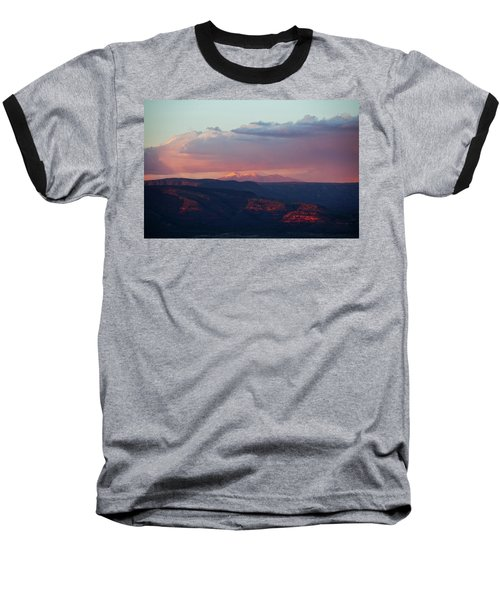 Flagstaff's San Francisco Peaks Snowy Sunset Baseball T-Shirt by Ron Chilston