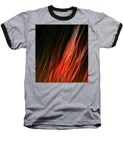 Flame Grass  Baseball T-Shirt by Theresa Tahara