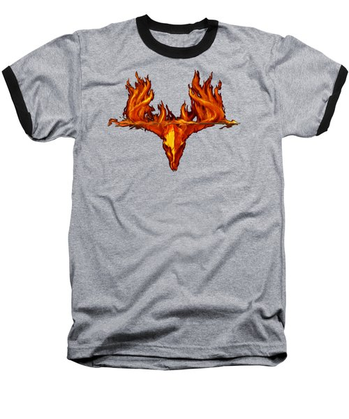 Flame On Buck With Arrow Baseball T-Shirt by Rob Corsetti