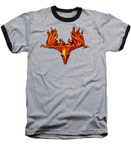 Flame On Buck With Arrow Baseball T-Shirt
