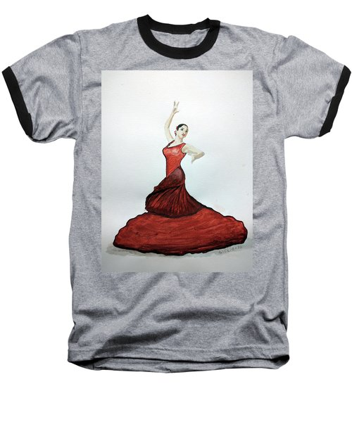 Baseball T-Shirt featuring the painting Flamenco Dancer by Edwin Alverio