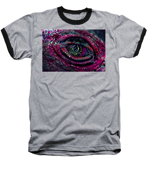 Flaming Dragons Eye Baseball T-Shirt