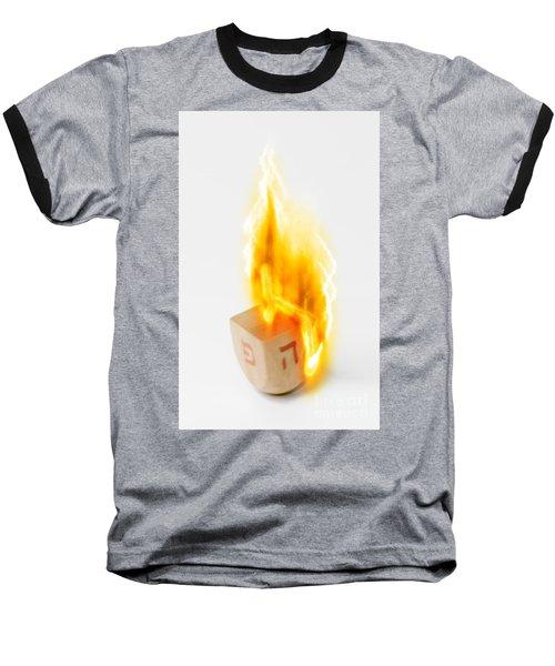 flaming Dreidel Baseball T-Shirt