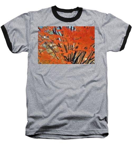 Flaming Fall Foliage Baseball T-Shirt