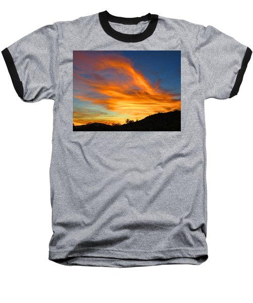 Flaming Hand Sunset Baseball T-Shirt