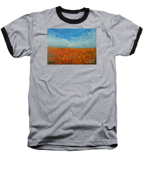 Baseball T-Shirt featuring the painting Flaming Orange by Jane See