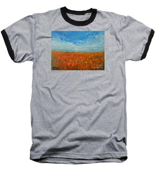 Flaming Orange Baseball T-Shirt by Jane See