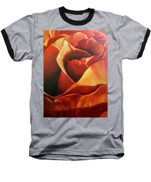 Flaming Rose Baseball T-Shirt
