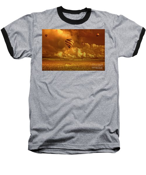 Baseball T-Shirt featuring the photograph Flaming Sky by Charuhas Images