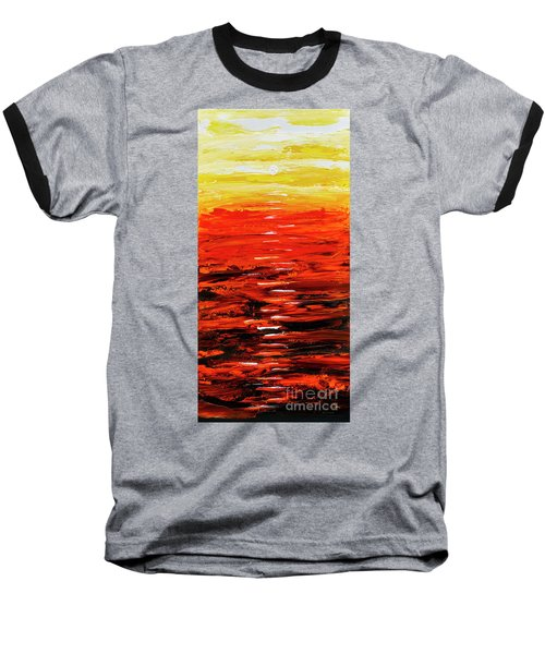 Flaming Sunset Abstract 205173 Baseball T-Shirt