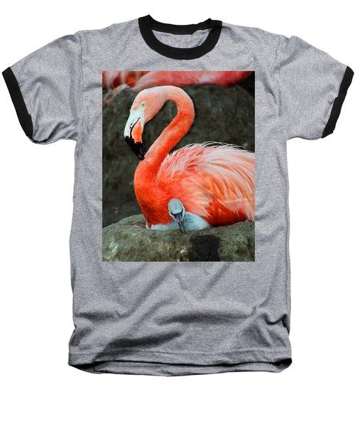 Flamingo And Baby Baseball T-Shirt