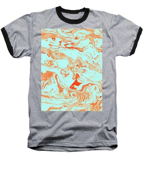 Flamingo And Sea Marble Baseball T-Shirt by Uma Gokhale