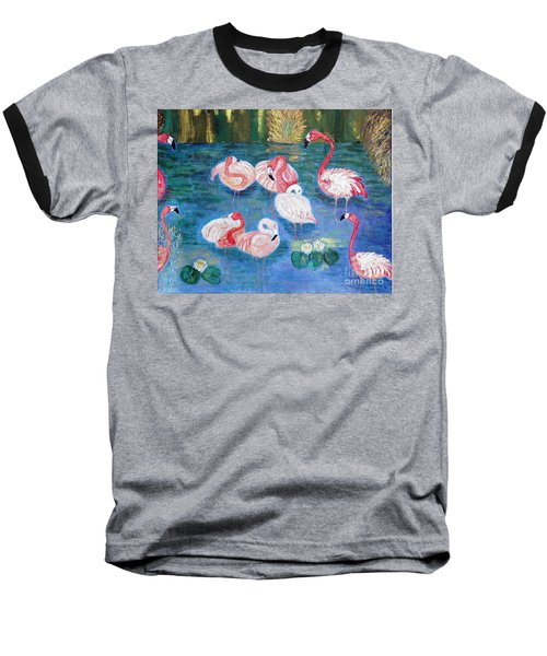 Baseball T-Shirt featuring the painting Flamingos Diptich Right by Vicky Tarcau