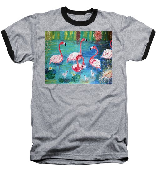 Baseball T-Shirt featuring the painting Flamingos Diptich Left by Vicky Tarcau