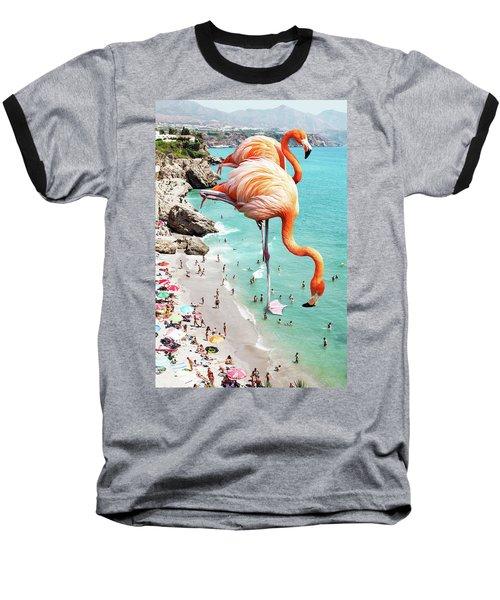 Flamingos On The Beach Baseball T-Shirt by Uma Gokhale