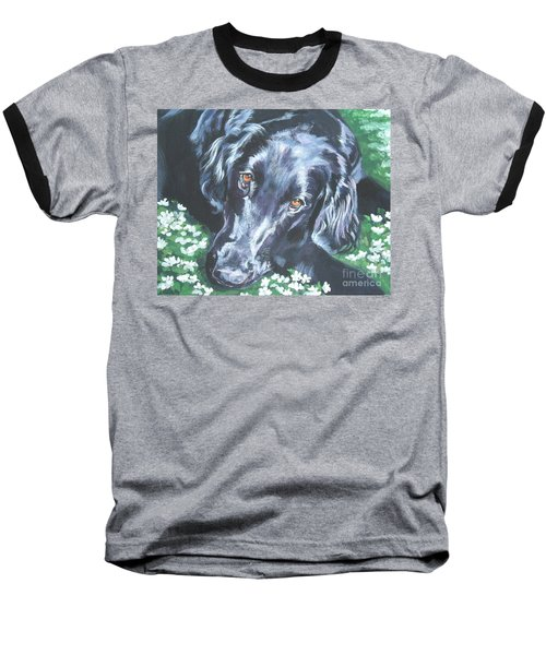 Baseball T-Shirt featuring the painting Flat Coated Retriever by Lee Ann Shepard