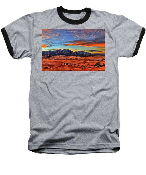 Baseball T-Shirt featuring the photograph Flatiron Sunset Fire Red by Scott Mahon