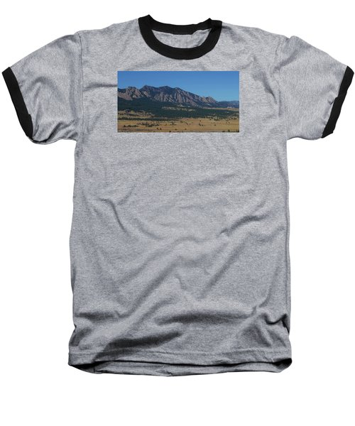 Flatirons Of Boulder Baseball T-Shirt by Christopher Kirby