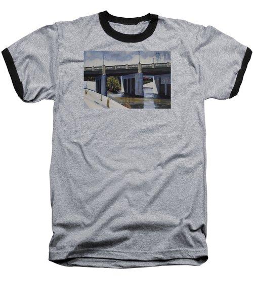 Fletcher Street Bridge Baseball T-Shirt by Richard Willson