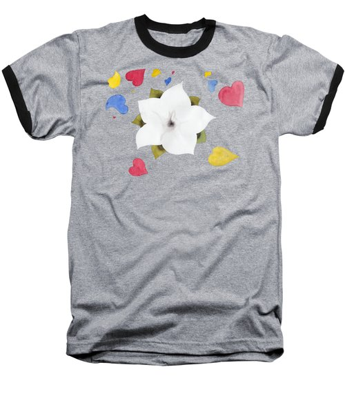 Baseball T-Shirt featuring the painting Fleur Et Coeurs by Marc Philippe Joly