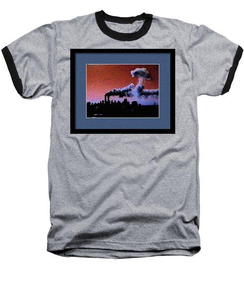 Baseball T-Shirt featuring the digital art Flight 175 Mushroom Cloud Framed Example by James Kosior