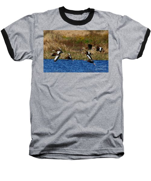 Baseball T-Shirt featuring the photograph Flight Of The Whistlers by Myrna Bradshaw
