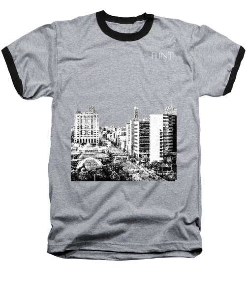 Flint Michigan Skyline - Aqua Baseball T-Shirt