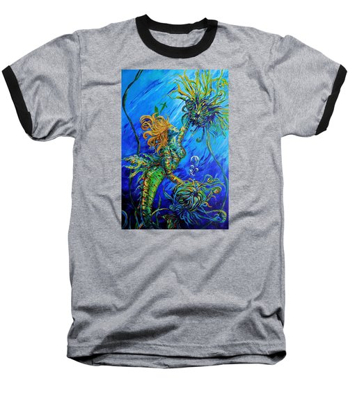 Floating Blond Mermaid Baseball T-Shirt