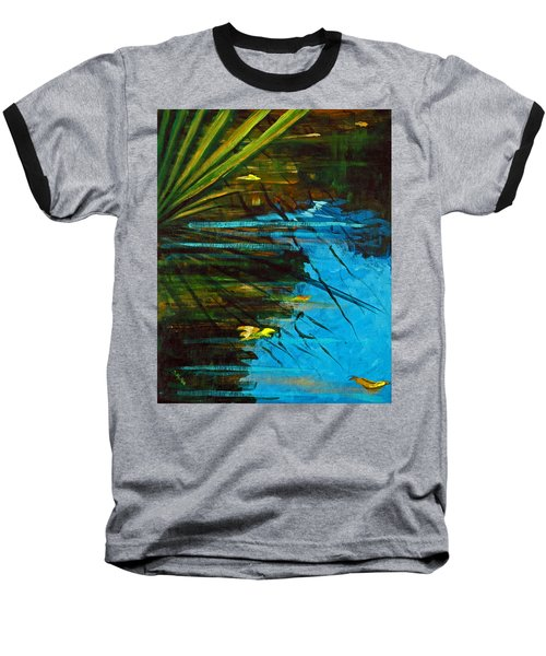 Floating Gold On Reflected Blue Baseball T-Shirt by Suzanne McKee