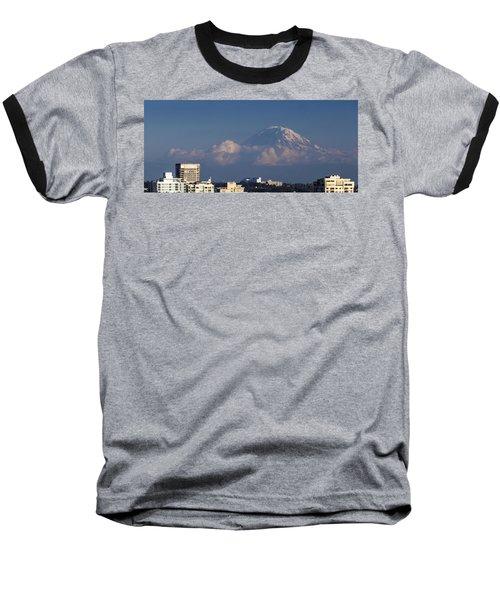 Floating Mountain Baseball T-Shirt by Ed Clark