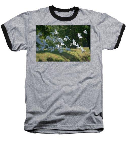 Flock Of Egrets In Flight Baseball T-Shirt