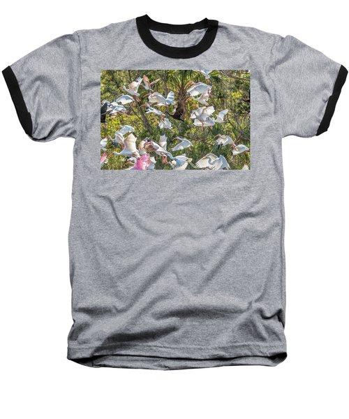 Flock Of Mixed Birds Taking Off Baseball T-Shirt