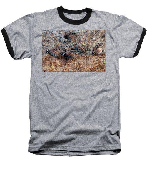 Flock Of Quail Feeding In Field Baseball T-Shirt