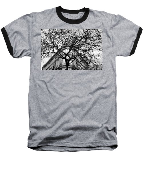 Flood Building - San Francisco - Corner Tree View Black And White Baseball T-Shirt
