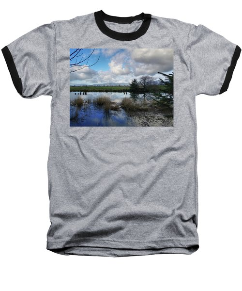 Flooding River, Field And Clouds Baseball T-Shirt