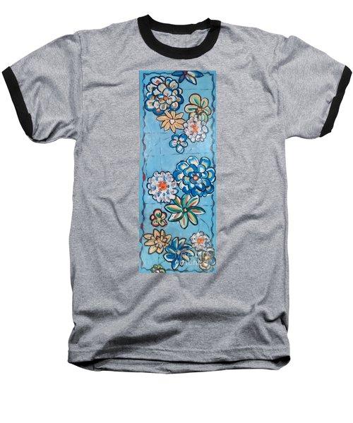 Floor Cloth Blue Flowers Baseball T-Shirt by Judith Espinoza