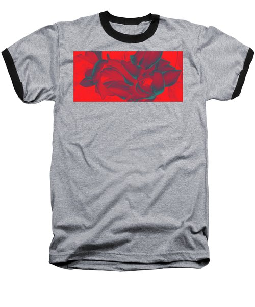 Floral Abstract In Dramatic Red Baseball T-Shirt