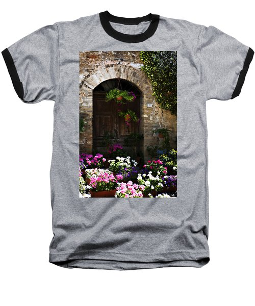 Floral Adorned Doorway Baseball T-Shirt