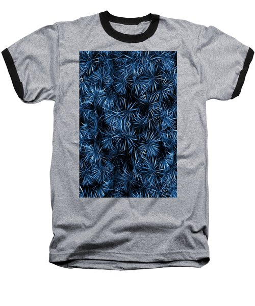 Baseball T-Shirt featuring the painting Floral Blue Abstract by David Dehner