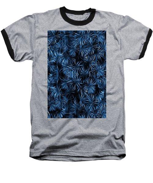 Floral Blue Abstract Baseball T-Shirt by David Dehner